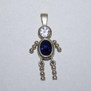 .925 sterling silver sapphire boy pendant